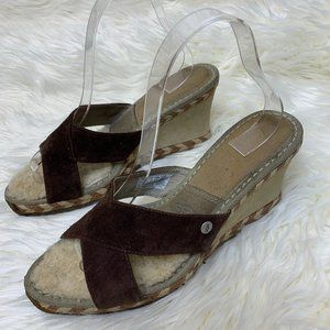 Ugg Shoes Sandals Clogs Margot Suede Brown Wedge 9